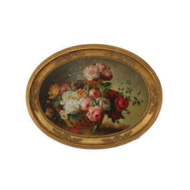Gilt Frame Oval Oil on Canvas Basket Of Roses