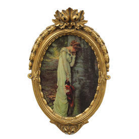 "22"" x  14"" Gilt Frame Oval Painting Of Lady"