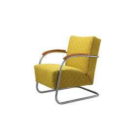 Yellow Pattern 1930S Bauhaus Armchair on Chrome & Wood Frame