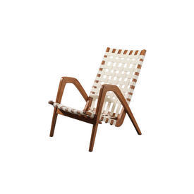 Oak Wood 1950S Easy Chair with Cream Woven Straps