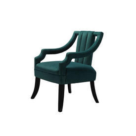 Green Velvet ''Wallace'' Chair on Dark Wood Legs