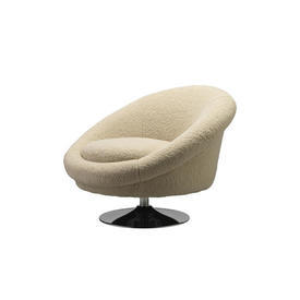 Cream Teddy ''Nemo'' Swivel Chair on Chrome Base