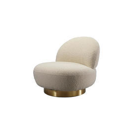 Cream Boucle ''Clement'' Swivel Chair on Brass Base