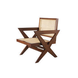 Brown Natural Wood & Rattan ''Augustin'' Chair