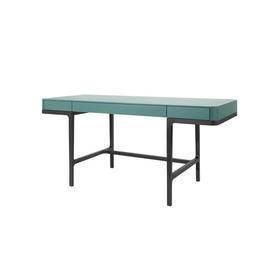 Black & Teal Green ''Victor'' Oak Writing Desk