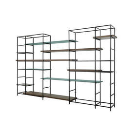Pair Of Black Metal Shelving Units with Mocha Wood, Teal Green & Black Shelves