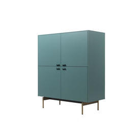 Teal Green 4 Door Cabinet on Bronze Base