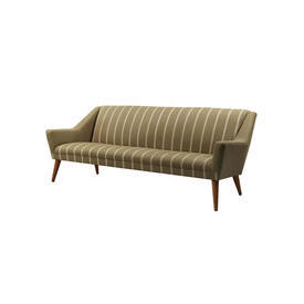 1960S Vintage Light Brown Sofa with Cream Stripes