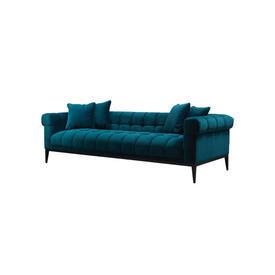 Sea Green Velvet ''Aurelio'' Sofa on Dark Wood Legs