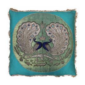 "Cushion 19"" x 19"" Turquoise Peacocks Indian Silk & Metal Heavy Emb Panels on Sateen"