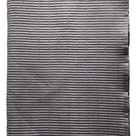 "Bed Cover (K) 8'6"" x 8'6"" Charcoal Stripe Quilted Faux Silk"