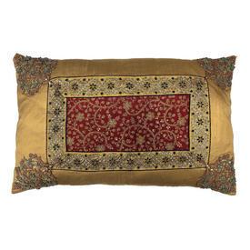 """Floor Cushion 24"""" x 30"""" Yellow Silk / Indian Emb Panel"""