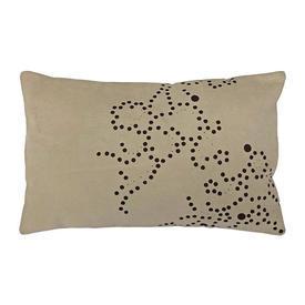"Oblong Cushion 10"" x 15"" Cream Gilles Caffier Random Spots Cut Suede"
