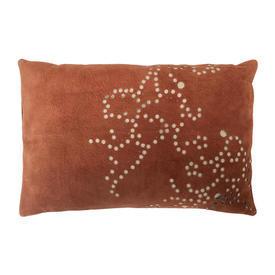 "Oblong Cushion 10"" x 15"" Rust Gilles Caffier Random Spots Cut Suede"
