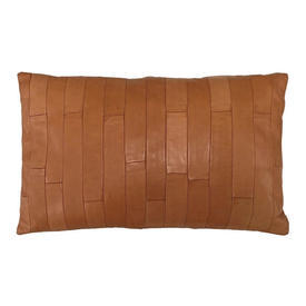 """Oblong Cushion 10"""" x 16"""" Tan Gilles Caffier Oblongs Stitched Leather"""