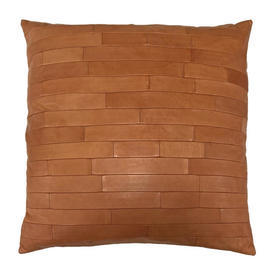 """Cushion 18"""" x 18"""" Tan Gilles Caffier Oblongs Stitched Leather"""