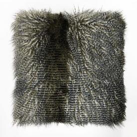 """Cushion 22"""" x 22"""" Grey Speckle Faux Fur"""