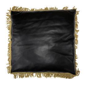 """Cushion 18"""" x 18"""" Black Leather / Gilt Metallic Fringe"""