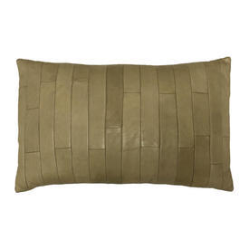 """Oblong Cushion 10"""" x 16"""" Straw Gilles Caffier Oblongs Stitched Leather"""
