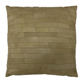 """Cushion 18"""" x 18"""" Straw Gilles Caffier Oblongs Stitched Leather"""