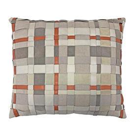 "Cushion 16"" x 18"" Silver / Orange Leather / Linen Ribbon"