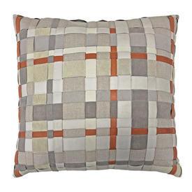"Cushion 17"" x 18"" Silver / Orange Leather / Linen Ribbon"