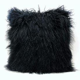 "Floor Cushion 25"" x 25"" Black Mongolian Sheepskin"