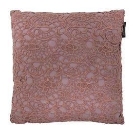 "Cushion 15"" x 15"" Pink Cutwork Floral Lace"