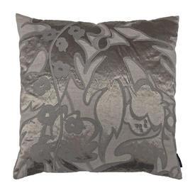 """Cushion 17"""" x 17"""" Stone / Oatmeal Silk & Linen Emb Applique"""