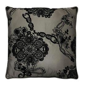 """Cushion 18"""" x 18"""" Grey / Black Floral Ribbon Flock Silk"""