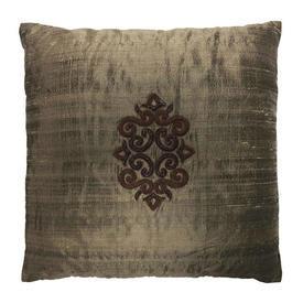 "Cushion 17"" x 17"" Bronze Shot Silk / Copper Applique Motif"