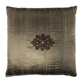 "Cushion 22"" x 22"" Bronze Shot Silk / Copper Applique Motif"