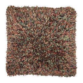 "Floor Cushion 30"" x 30"" Rust Wool / Silk Ribbon Tuft Weave"