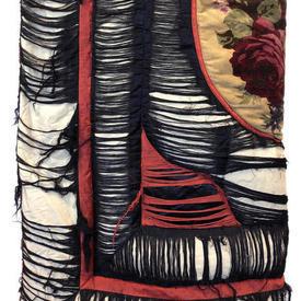 """Eiderdown (D) 5'6"""" x 4'6"""" Black / Rust Shredded Silk / Floral Velvet Panel"""