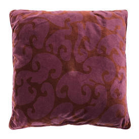 "Floor Cushion 25""x25"" Magenta / Rust Swirl Print Velvet"