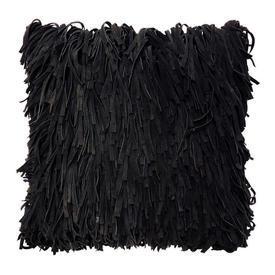 """Cushion 18"""" x 18"""" Black Shaggy Suede"""