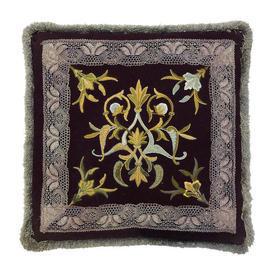 "Cushion 19"" x 19"" Burgundy Wool / Floral Scroll Crewel / Metallic Lace"