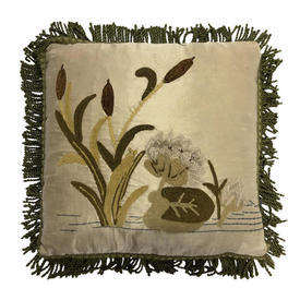 "Cushion 15"" x 16"" Khaki Bulrush & Lilies Chenille Emb on Silk / Fringe"