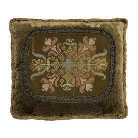 "Cushion 16"" x 18"" Olive Geo Floral Gros-Point Tapestry Figured Velvet"