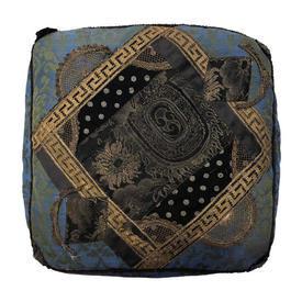 "Box Cushion 20"" x 20"" x 3"" Cerulean Silk Damask / Metal Brocade Applique"