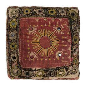 "Cushion 15"" x 15"" Red Sun Indian Emb Cotton / Mirrored"
