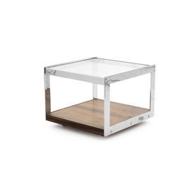 Square Glass Top ''Merrow'' Lamp Table Rosewood & Chrome Base