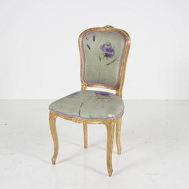 Gold Framed C.Q. Occ Chair with Green Silk Seat & Back