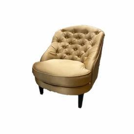 Mpf Dull Gold Satin Fabric Button Back Bedroom Chair