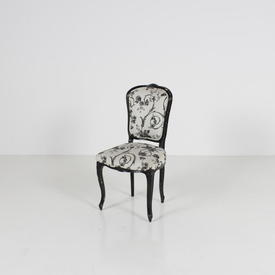 Black Frame C.Q. Occ. Chair with Black Floral  Fabric