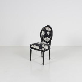 Black Frame Aubusson Single Chair with Black Floral Pattern Fabric Seat & Back