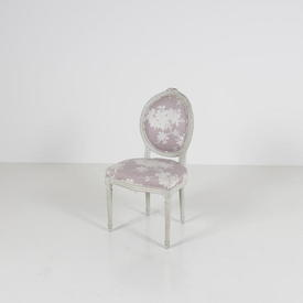 White Frame Aubusson Single Chair with Lilac Floral Pattern Fabric Seat & Back