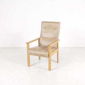 """Will Beck"" Ash & Cream Vinyl Highback Nursing  Easy Chair"