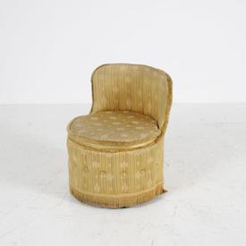 Gold Satin Look Line Patt Fabric Nursing Tub Chair/Stool
