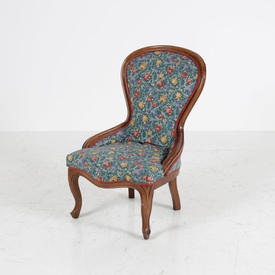 Dk Wood Frame/Blue Floral Print Nursing Chair